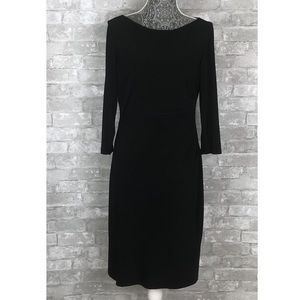 RALPH LAUREN 3/4 Sleeve Sheath Black Dress Size 10